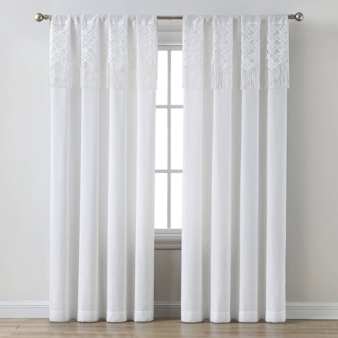Macrame Attached Valence Sheer Curtain Panel White - Opalhouse™ - image 1 of 4