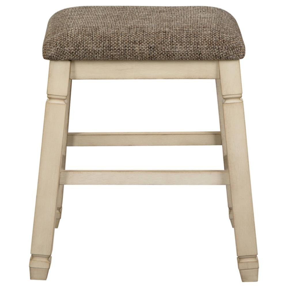 Promos Set of 2 Bolanburg Upholstered Counter Height Barstools Distressed Gray - Signature Design by Ashley