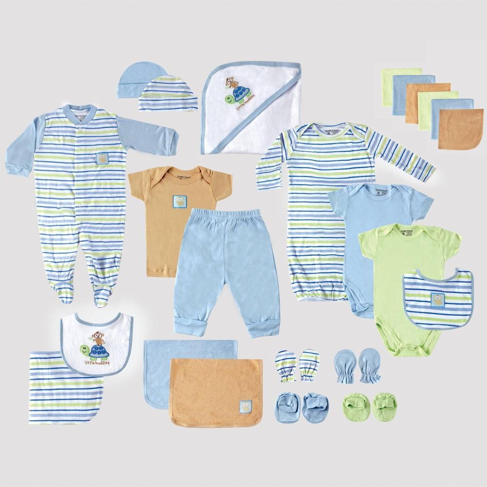 Image of Luvable Friends Baby 24pc Gift Cube Bodysuit - Blue/Green/White 0-6M, Kids Unisex