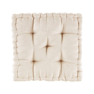 """20""""x20"""" Oversize Diah Poly Chenille Square Floor Pillow Ivory"""