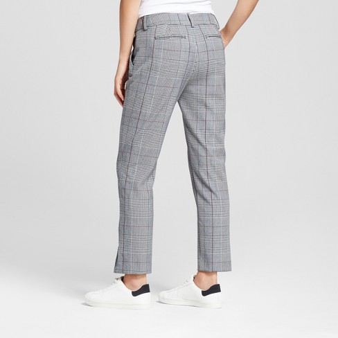 Women S Slim Fit Straight Leg Plaid Ankle Pants A New Day Gray Target