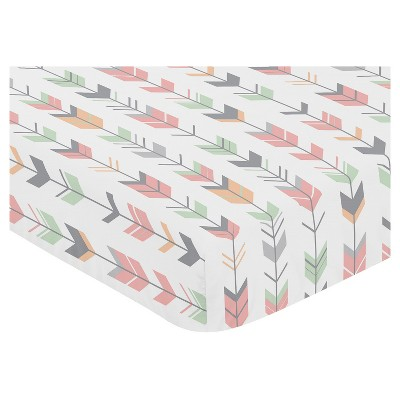 Sweet Jojo Designs Fitted Crib Sheet - Coral & Mint Woodsy - Arrow