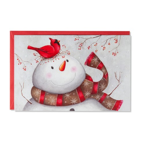 American Greetings 14ct Folk Snowman with Cardinal Holiday Boxed Cards - image 1 of 1