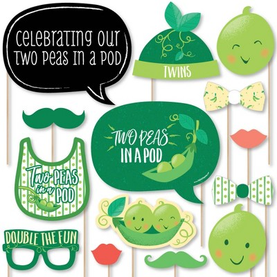 Big Dot of Happiness Double the Fun - Twins Two Peas in a Pod - Baby Shower or First Birthday Party Photo Booth Props Kit - 20 Count