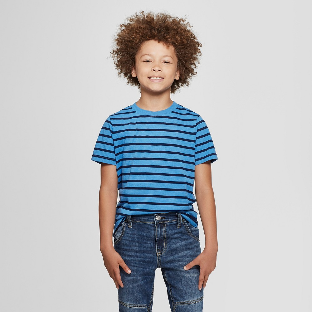 Boys' Short Sleeve Stripe T-Shirt - Cat & Jack Blue XL