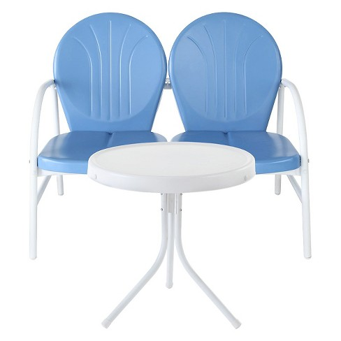 Crosley Griffith 2 Piece Metal Outdoor Loveseat and Table Set -Sky Blue - image 1 of 2