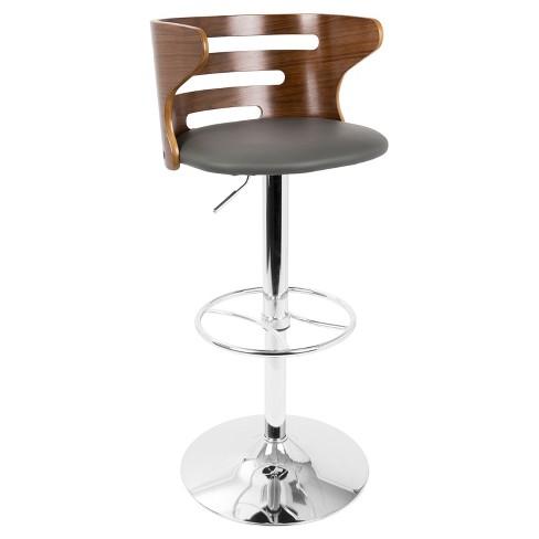 671501ef62a0 Cosi Mid - Century Modern Adjustable Barstool With Swivel - Walnut - Gray -  Lumisource : Target