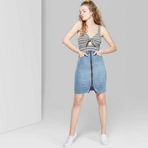 Women's Zip-Front Denim Midi Skirt - Wild Fable™ Blue - image 1 of 3