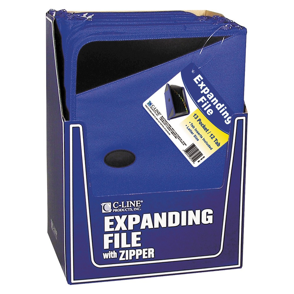 C-Line Expanding File Folder/Portfolio, Zipper, 13 Pocket Document File/Tabbed Dividers, Blue