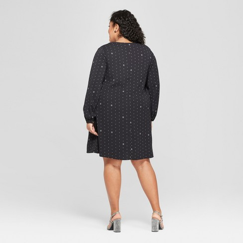 a9ffdd76d2b Women s Plus Size Printed Shift Dress - Ava   Viv™ Black   Target