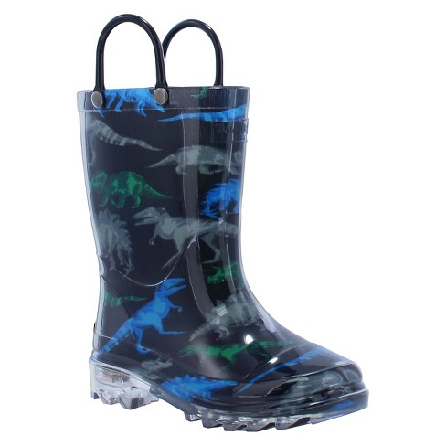 651490f63524d Toddler Boy Dinosaur Friends Lighted Rain Boot Black - Western Chief ...