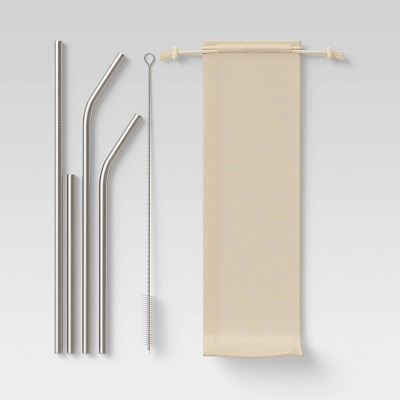 Stainless Steel Straw 12pc Set (10pc Straws, 1pc Brush, 1pc Canvas Pouch)- Room Essentials™