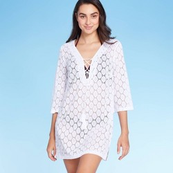 Women's Scalloped Mesh Lace-Up Cover Up Dress - Kona Sol™ White