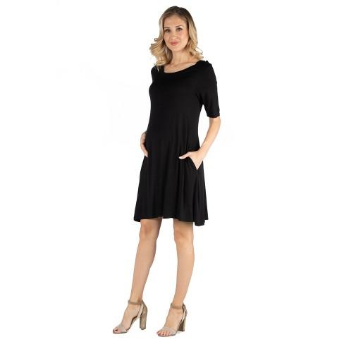 24seven Comfort Apparel Women's Maternity Soft Flare T Shirt Dress - image 1 of 3