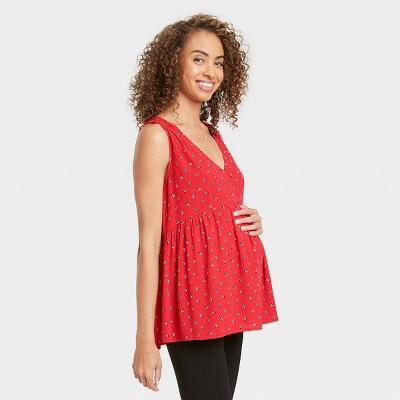 The Nines by HATCH™ Maternity Floral Print V-Neck Smocked Shoulder Crepe Tank Top Red