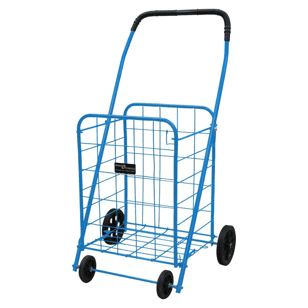 Narita Mitey-A Shopping Cart, Blue This exceptionally high quality four wheel Mitey-A Shopping Cart is ideal for shopping, laundry and hundreds of other purposes. The cart is coated with a highly durable epoxy finish. Easy Wheels Mitey-A Shopping Cart: Made of heavy gauge steel for durability Hardened plastic wheels with genuine rubber tread Folds flat for easy storage Color: Blue.