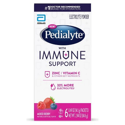 Pedialyte Immune Support Electrolyte Powder - Mixed Berry - 3.6oz