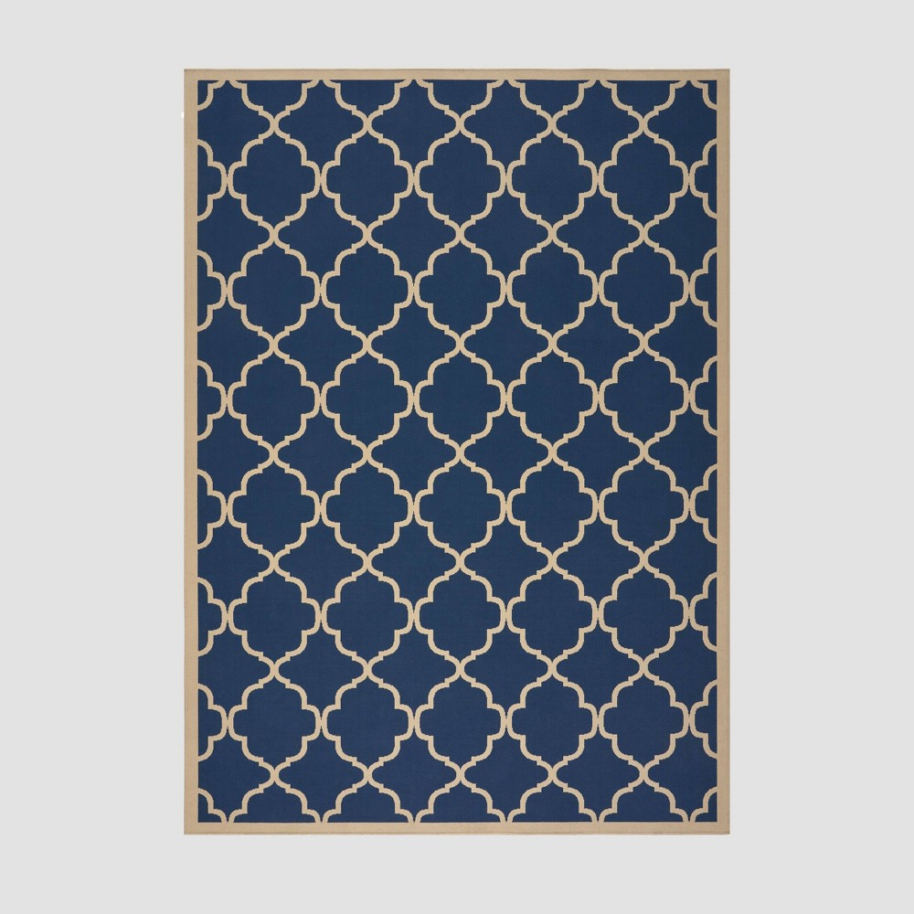 8' x 11' Joselyn Geometric Outdoor Rug Navy/Ivory - Christopher Knight Home, Blue
