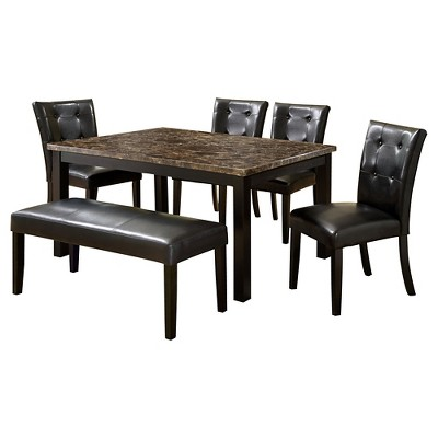 IoHomes 6pc Faux Marble Dining Table Set Wood/Black