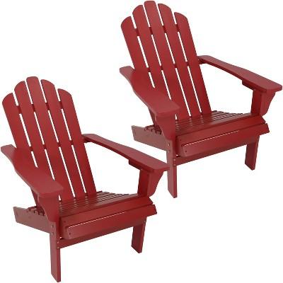 Outdoor Wood Adirondack Chair   Set Of 2   Red   Sunnydaze Decor