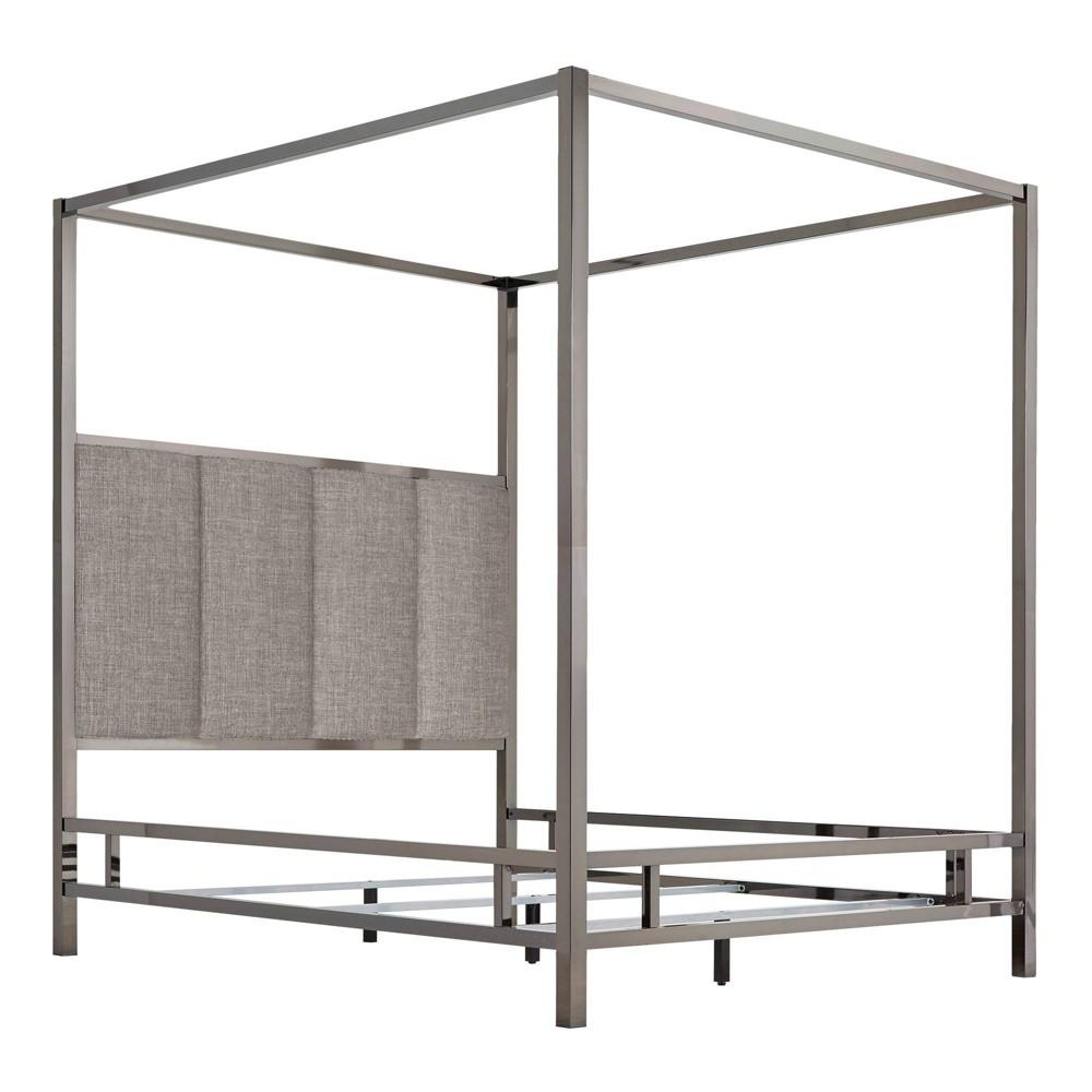 Full Manhattan Black Nickel Canopy Bed with Vertical Panel Headboard Smoke (Grey) - Inspire Q