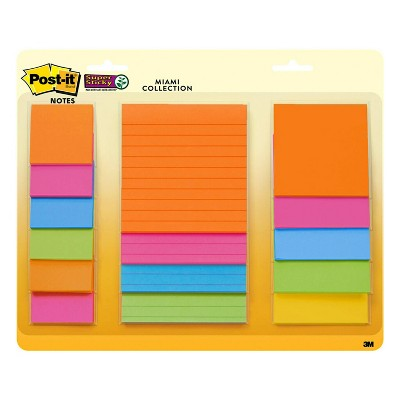 Post-it 15ct Super Sticky Notes Pack - Miami Collection