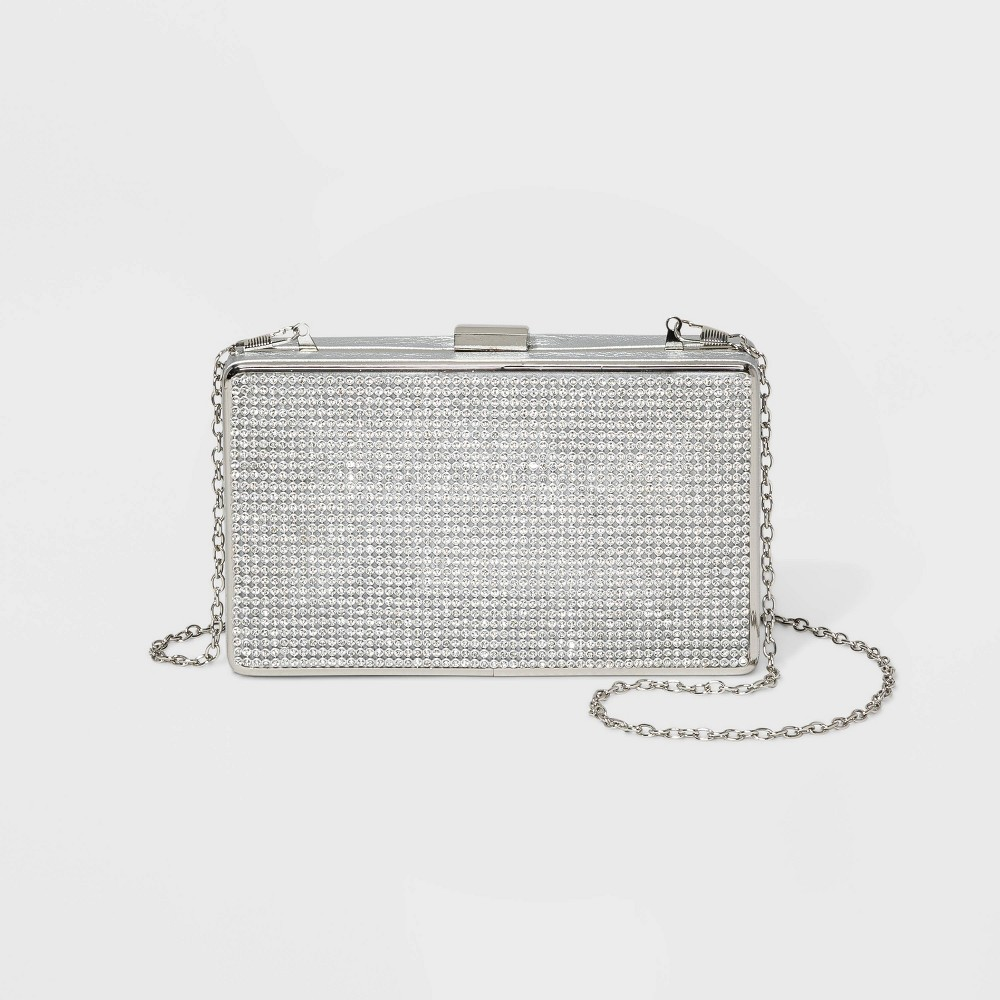 Image of Estee & Lilly Crystal Mesh Minaudiere Clutch - Light Silver, Women's, Size: Small