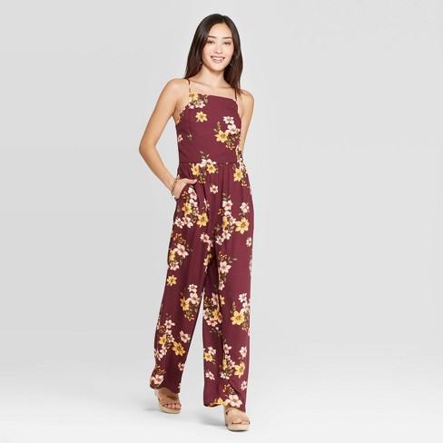 Women's Floral Print Square Neck Sleeveless Jumpsuit - Xhilaration™ Wine - image 1 of 2