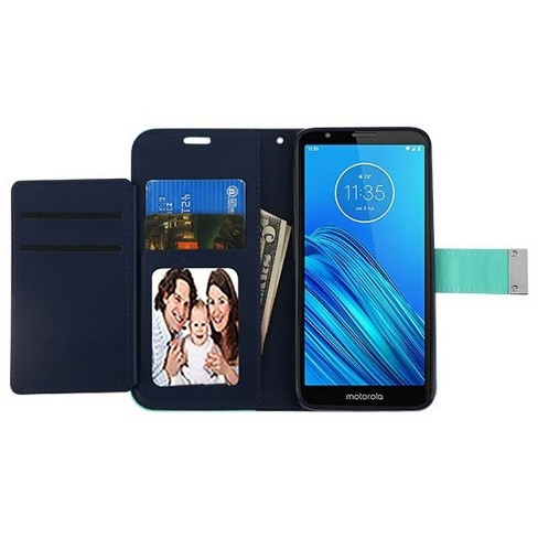 Insten MyJacket (Xtra Series) Book-Style Leather Fabric Case w/stand/card slot For Motorola Moto E6 - Teal/Blue - image 1 of 4