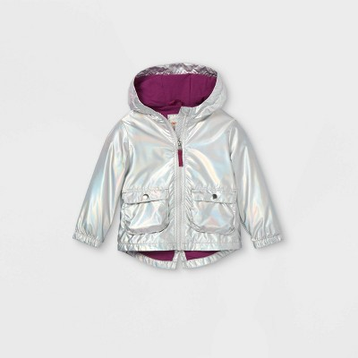 Toddler Girls' Foil Windbreaker Jacket - Cat & Jack™ Silver