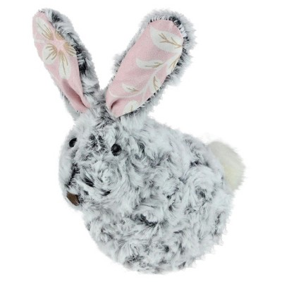 "Northlight 6.5"" Plush Floral Eared Bunny Easter Rabbit Spring Figure - Gray/Pink"