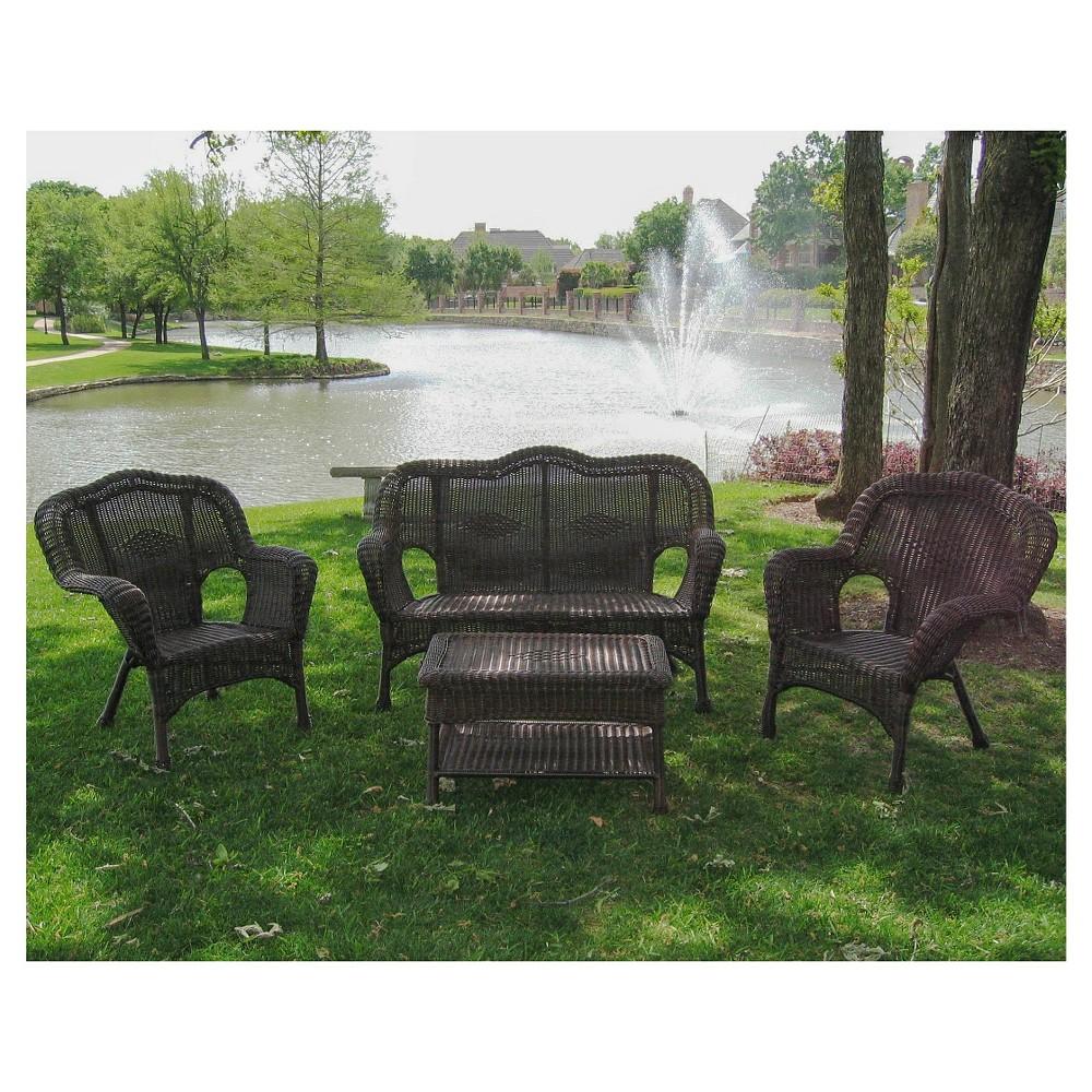 Image of International Caravan Chelsea 4-Piece Wicker Conversation Furniture Set, Ant Pecan