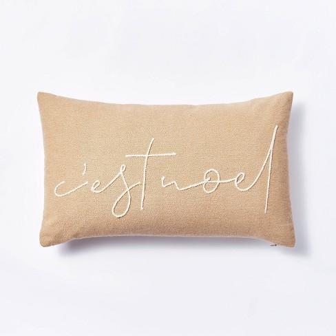 Oversized 'C'est Noel' Lumbar Throw Pillow Neutral - Threshold™ designed with Studio McGee - image 1 of 4