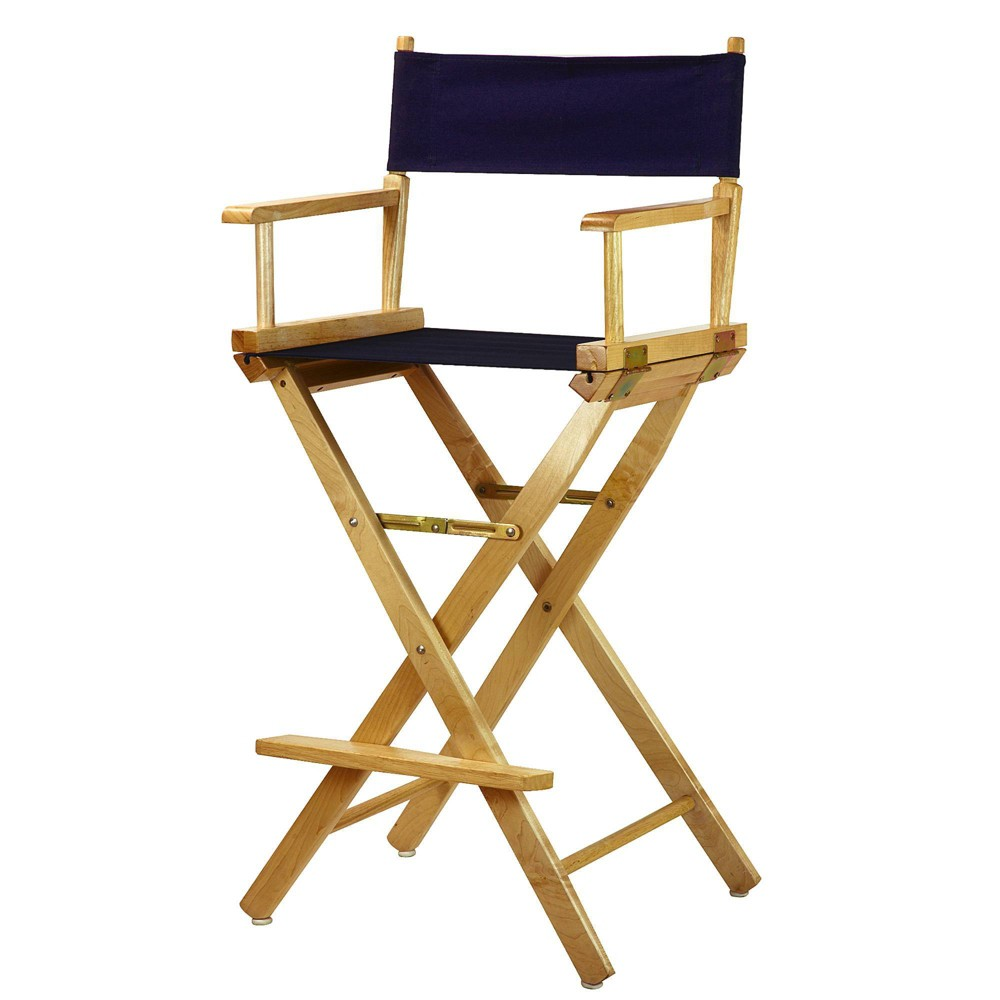 Bar Height Director S Chair Natural Frame Blue Canvas