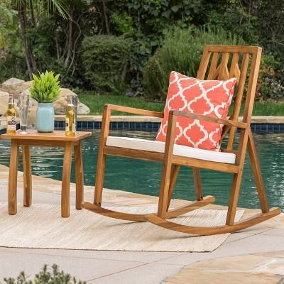 Nuna 2pc Acacia Wood Patio Rocking Chair Set - Teak/Cream - Christopher Knight Home