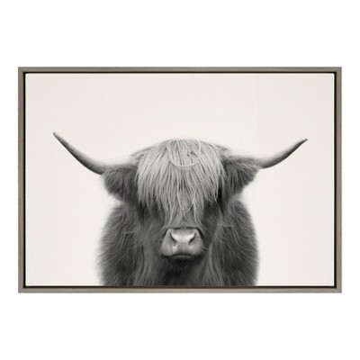"23"" x 33"" Sylvie Hey Dude Highland Cow Framed Canvas Wall Art by The Creative Bunch Studio Gray - Kate and Laurel"
