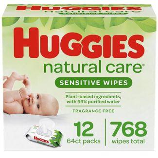 Huggies Natural Care Sensitive Baby Wipes, Unscented Flip-Top Packs - 12pk/768ct