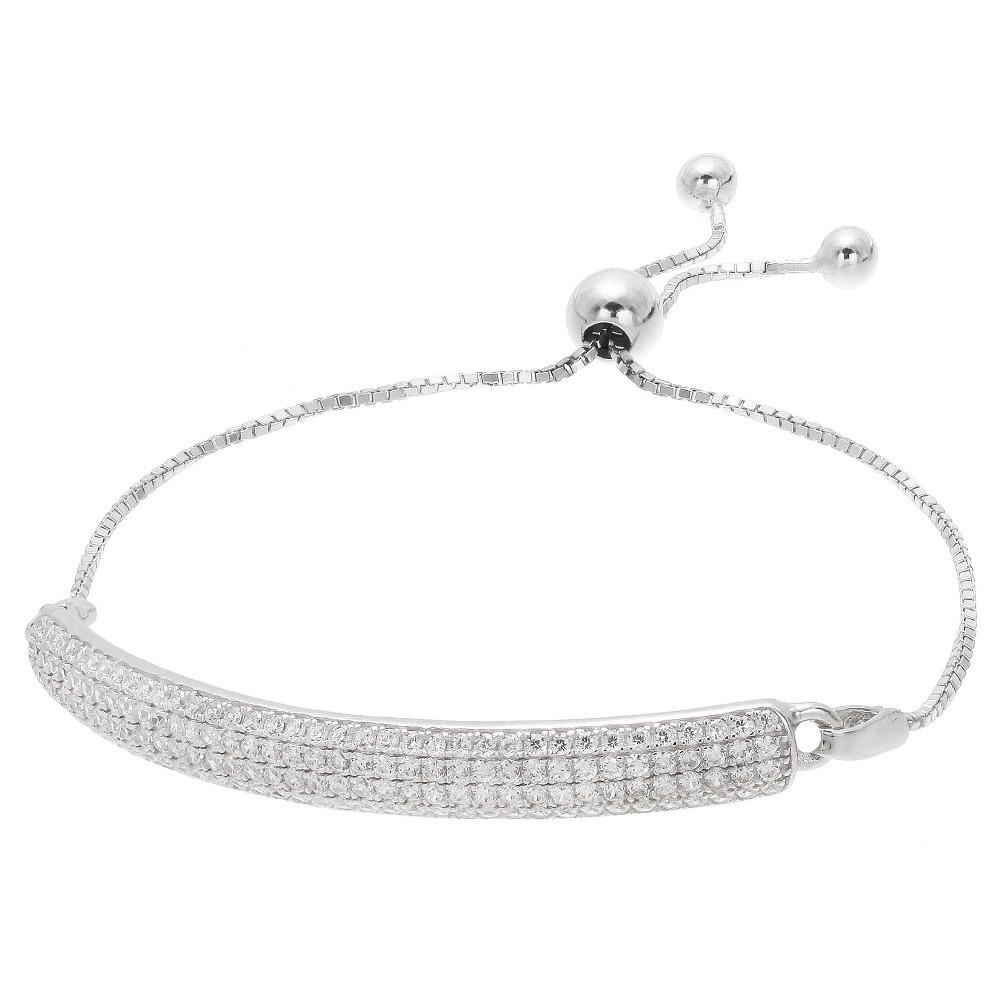 Women's Adjustable Bracelet with Clear Pave Set Round Cubic Zirconias - Silver/Clear (9.25)