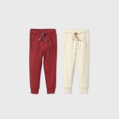 Toddler Boys' 2pk Rib Jogger Pants - Cat & Jack™ Cream/Red