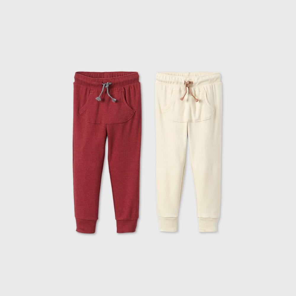 Toddler Boys 39 2pk Rib Jogger Pants Cat 38 Jack 8482 Cream Red 3t
