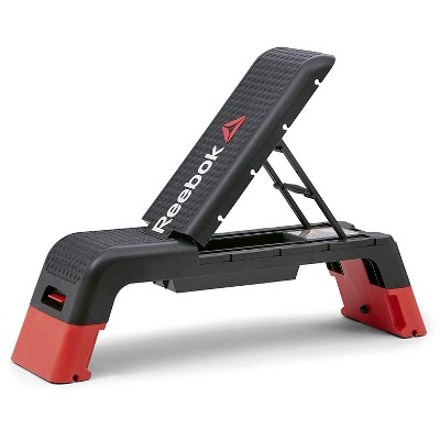 Reebok Professional 47-Inch Long Multi-Purpose Aerobic, Cardio, and Strength Challenging Home Fitness Deck Bench, Black