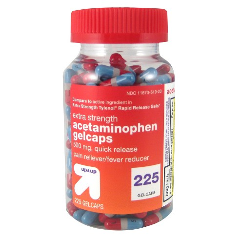 Acetaminophen 500mg Extra Strength Quick Release Pain Reliever Amp Fever Reducer Gelcaps Up Amp Up Target