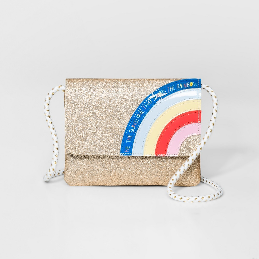 Girls' Rainbow Flap Crossbody Bag - Cat & Jack Gold, Size: Small