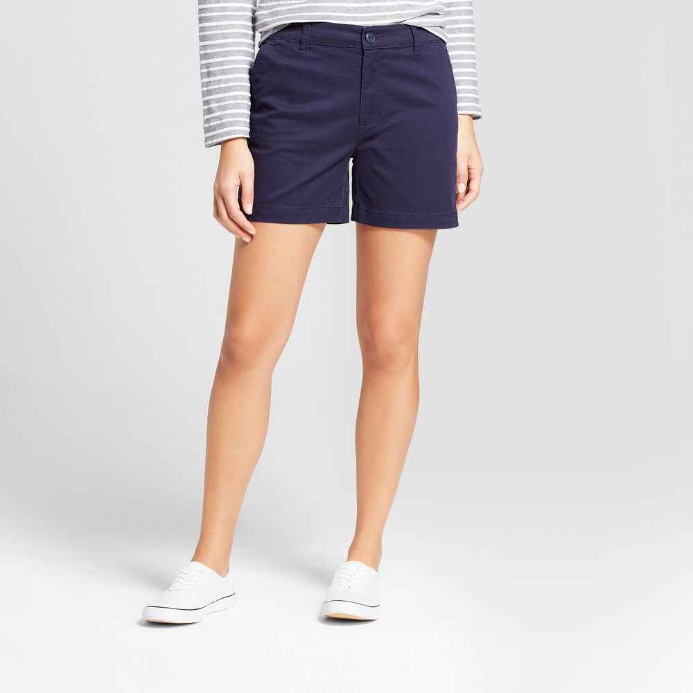 Women's 5 Chino Shorts - A New Day Navy (Blue) 0