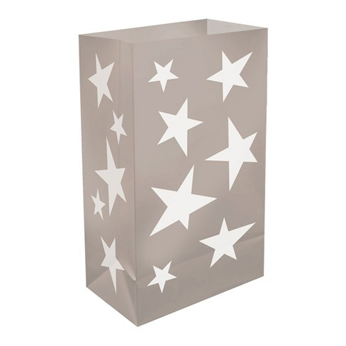 12ct Lumabase Silver Stars Plastic Luminaria Bags - image 1 of 3