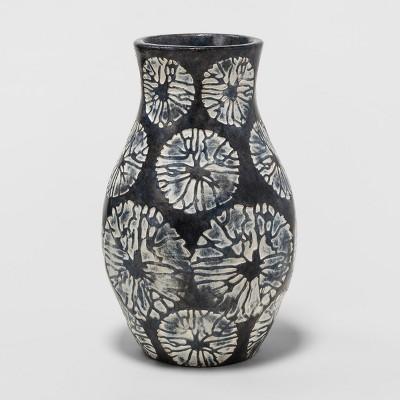 Earthenware Vase 6in - Blue/White - Threshold™