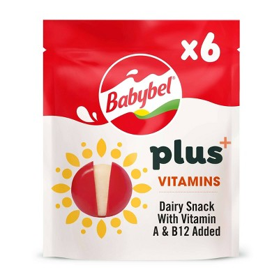 Babybel Plus+ Cheese Snack with Vitamins A & B12 - 4.23oz/6ct