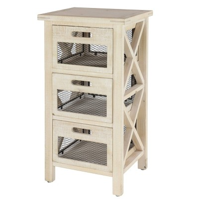 Wood Cabinet with Mesh Drawers Light Brown - Olivia & May