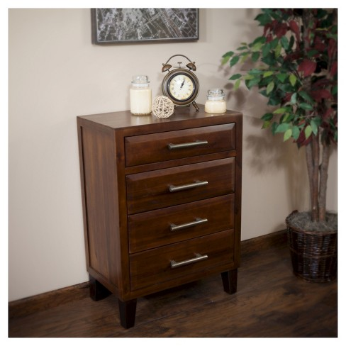 Luna Acacia Wood Four Drawer Chest Brown Mahogany Christopher Knight Home Target