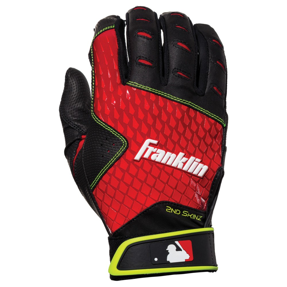 Franklin Sports MLB 2nd Skinz Batting Glove Pair Pk Assortment Youth Small - Black/Red, Multi-Colored